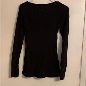 aerie Tops - Black Waffle Shirt